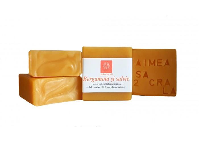 Bergamota si salvie - sapun natural cu ulei de enotera si canepa