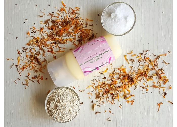 Crema de maini si corp intens hidratanta cu peptide, argan si galbenele (Soft hand and body)